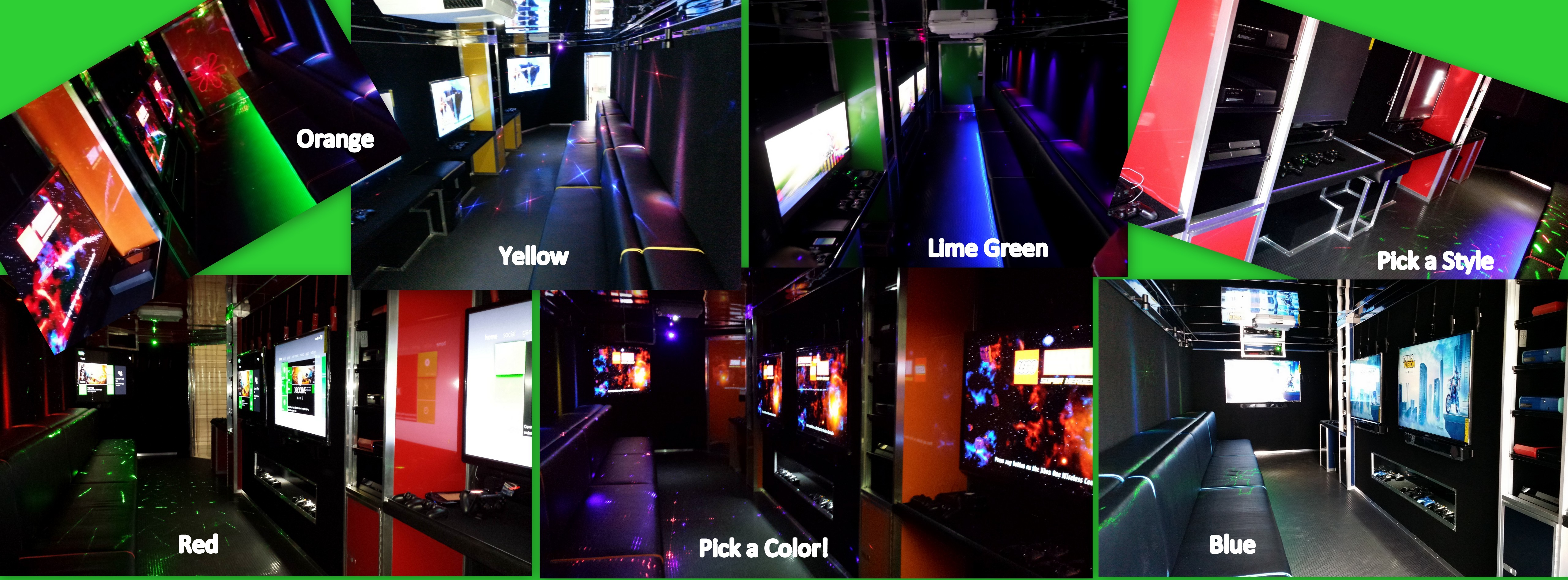 We are known for our Open Interior Design with bright colors and open space! Add in our Laser Light Show, Bench Under-glow and Colored LED Lights and it's GAME ON!
