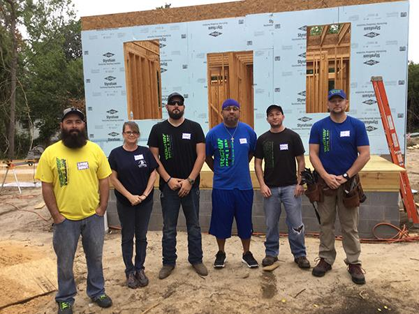 The Rockin' Rollin' Team at a Habitat Build