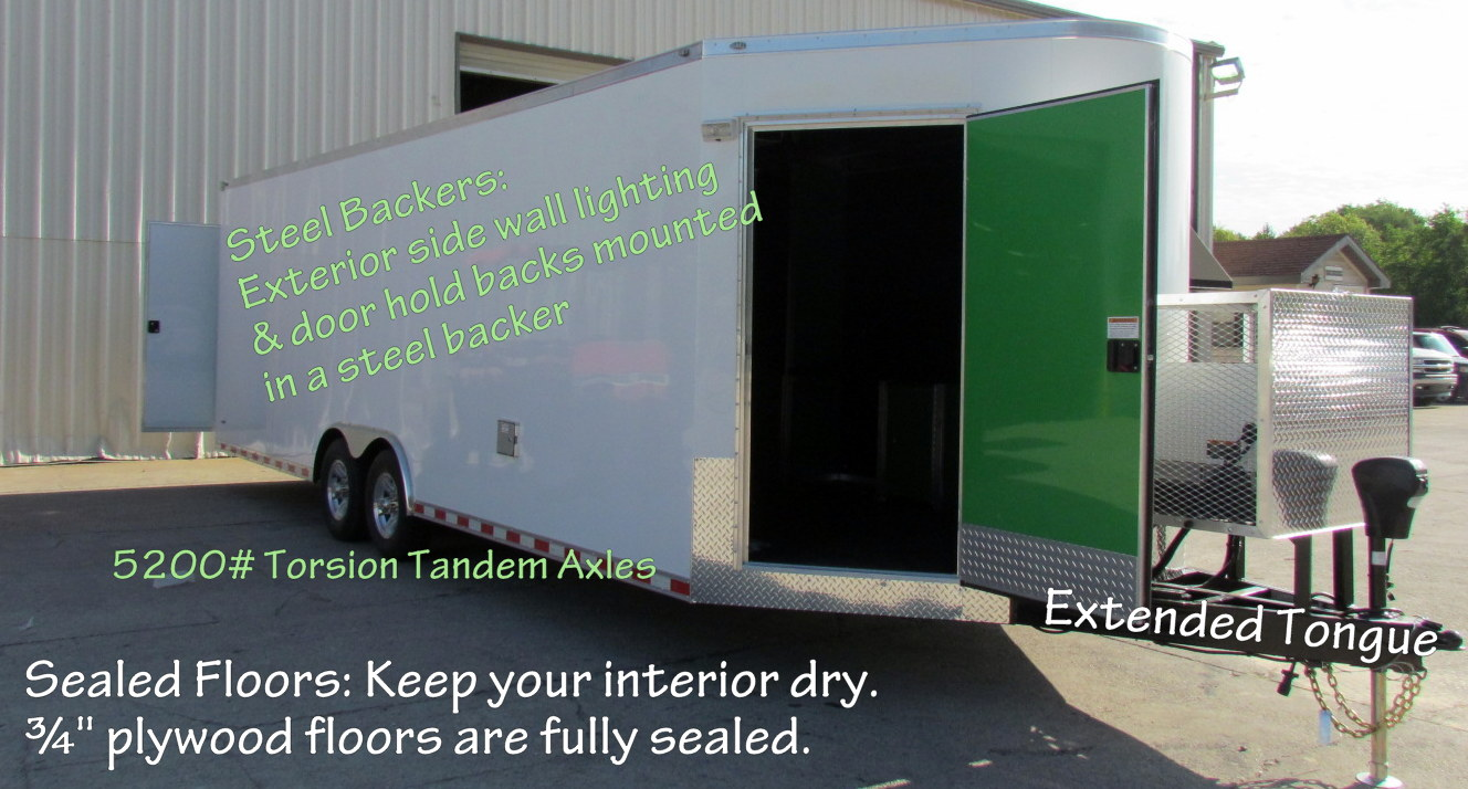 """Sealed Floors: Helps keep your valuable cargo dry. ¾"""" plywood floors are fully sealed around the perimeter edges."""